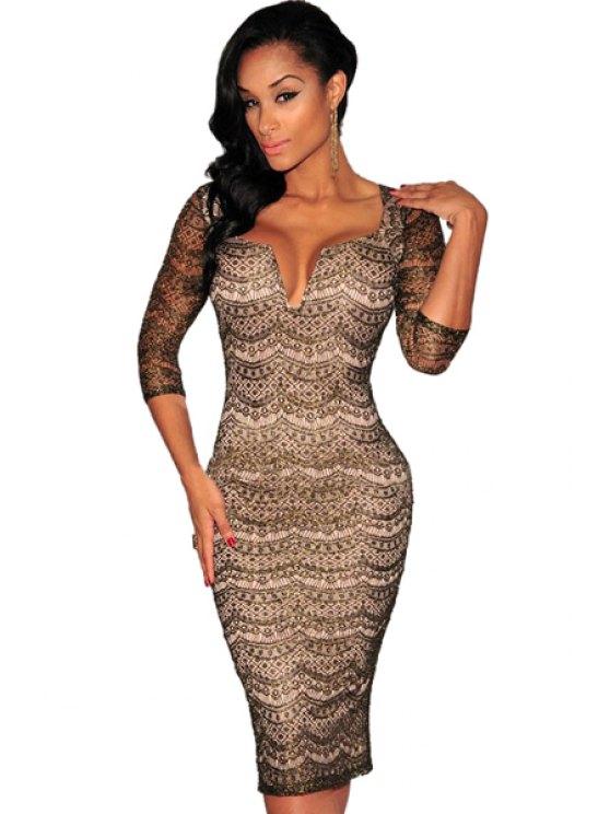 latest Lace Half Sleeve Wrapped Dress - BLACK S