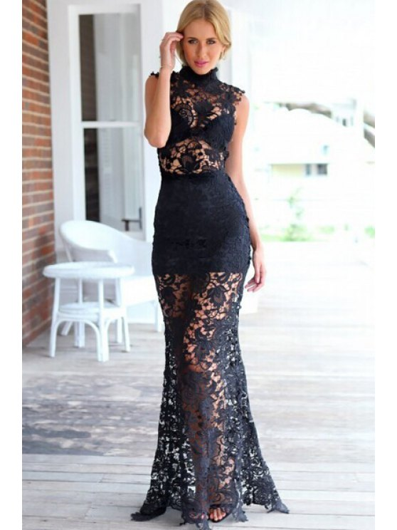 best Openwork Solid Color Lace Maxi Dress - BLACK M