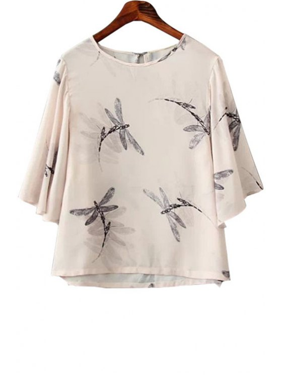 fancy Dragonfly Print Short Sleeve T-Shirt - NUDE S