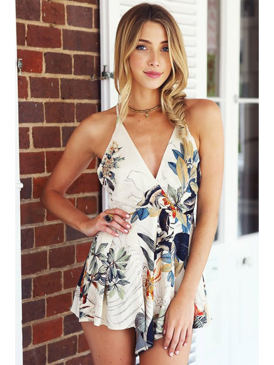 outfit Floral Spaghetti Straps Romper - WHITE S