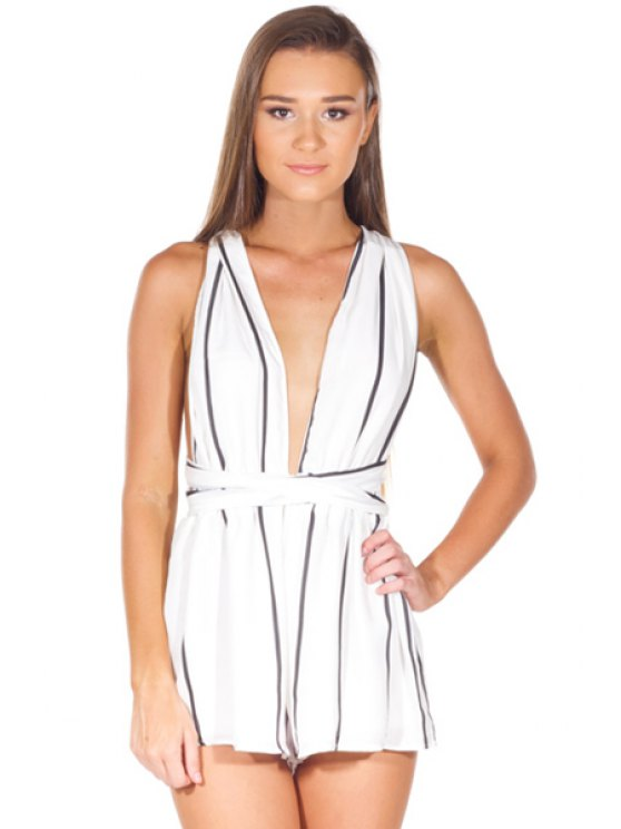 best Striped Plunging Neck Rompers - WHITE M