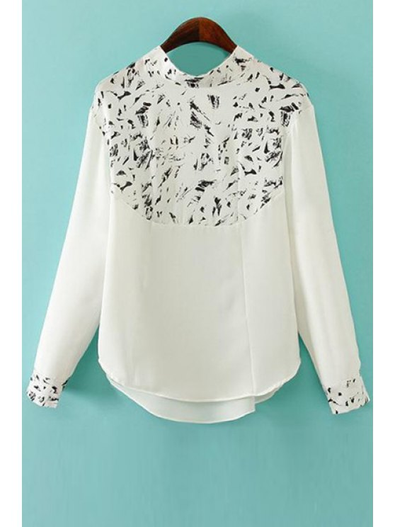 women Stand-Up Collar Print Color Block Shirt - WHITE M