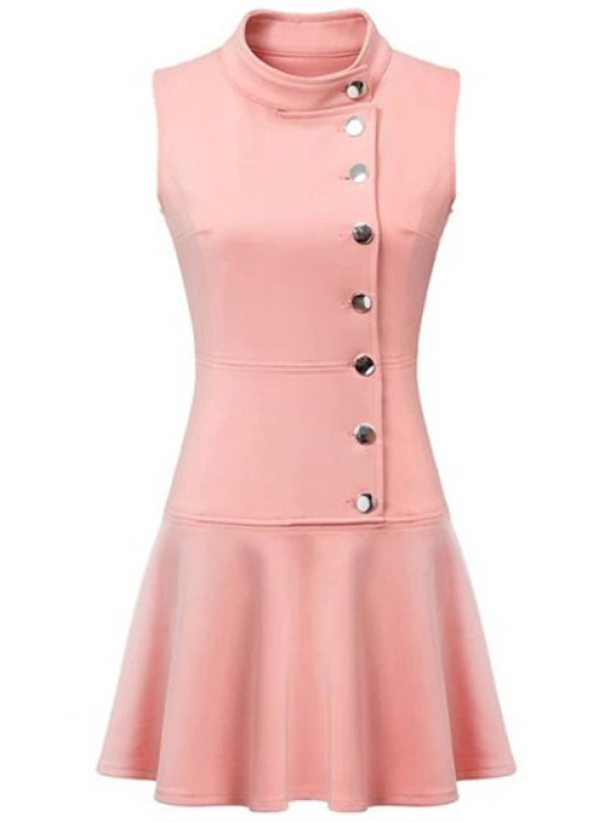 women Ruffles Button Down Skater Dress - PINK S