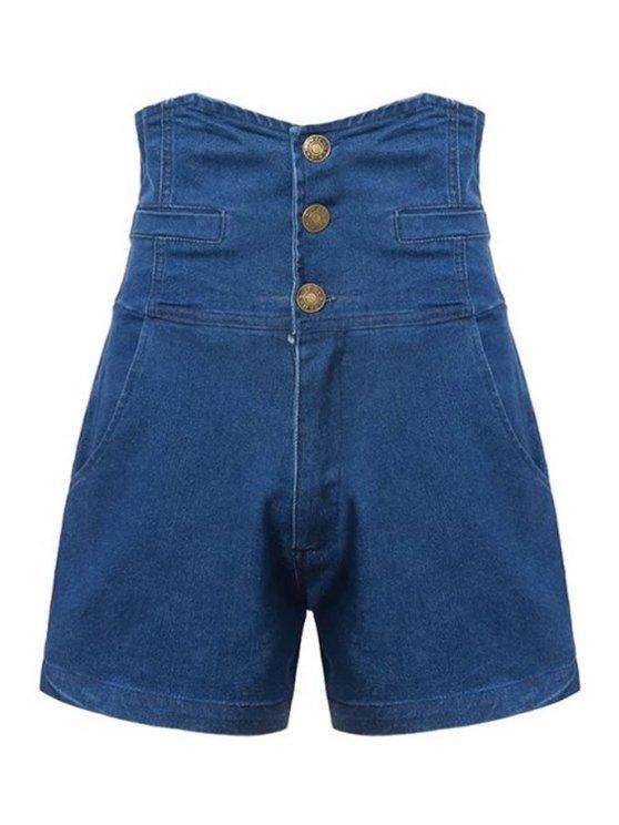 chic Three Buttons High Waist Denim Shorts - BLUE S