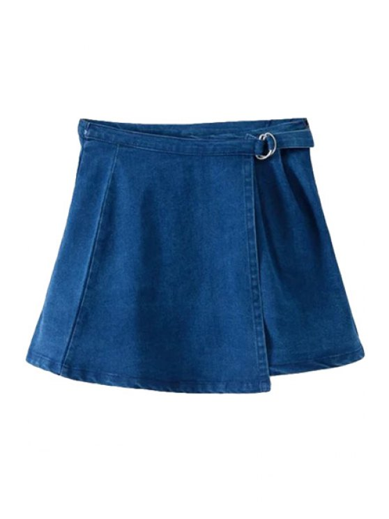 ladies Tie-Up Double-Deck Denim Skirt - BLUE S