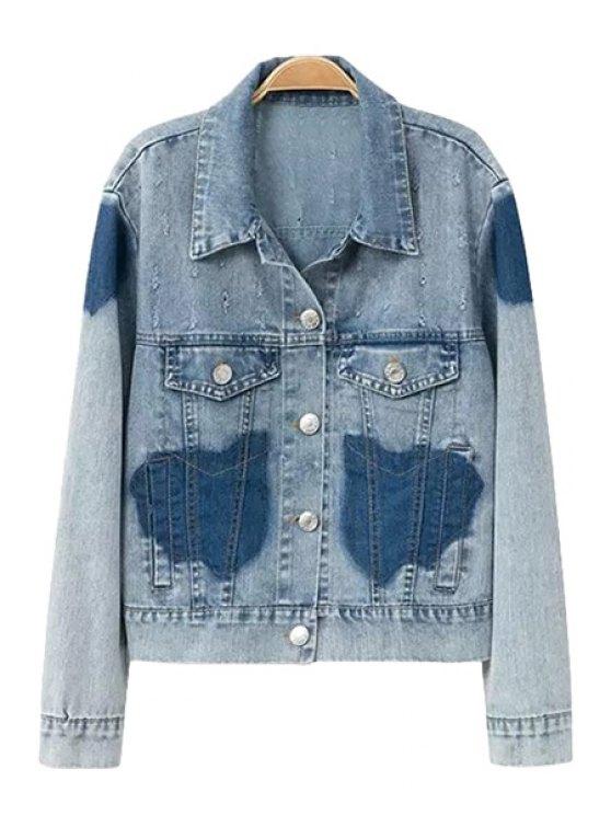 trendy Color Block Bleach Wash Denim Coat - BLUE S
