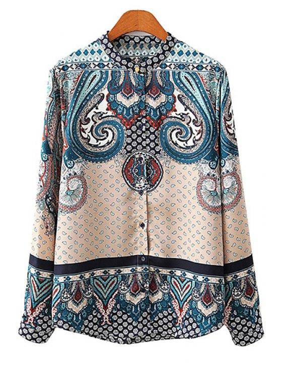 women Print Color Block Long Sleeve Shirt - APRICOT S