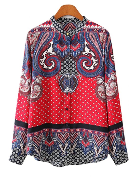 lady Red Retro Print Long Sleeve Shirt - RED S
