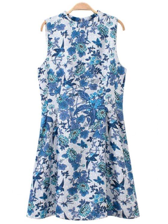 affordable Blue Floral Print Sundress - BLUE S