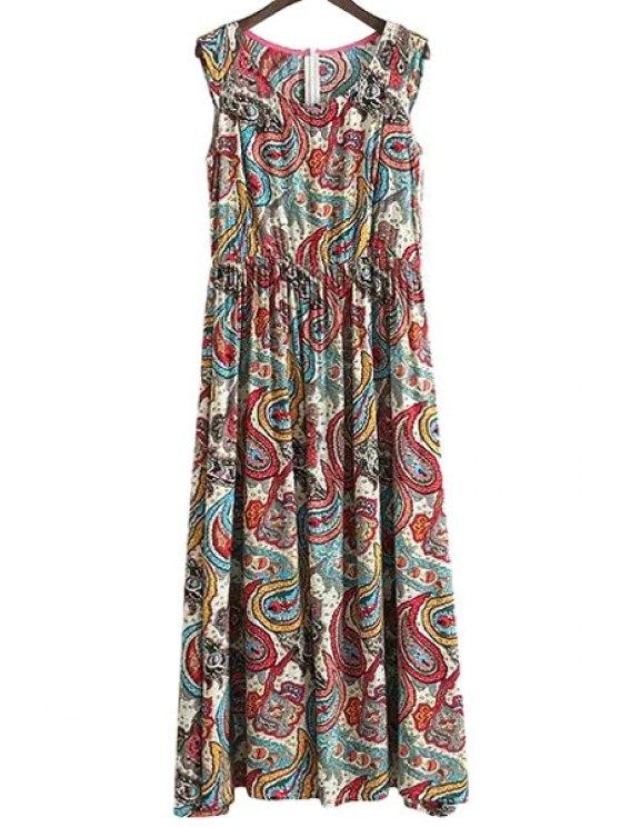 fashion Paisley Print Sleeveless Dress - COLORMIX S