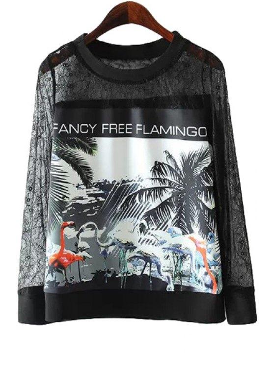 trendy Openwork Lace Tree Print Sweatshirt - BLACK S