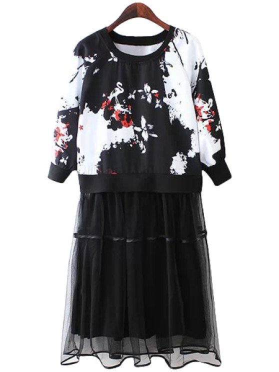 outfits Color Block Print Voile Splicing Dress - BLACK S