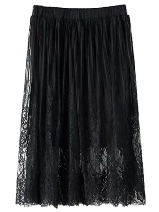 latest Lace Solid Color A-Line Skirt - BLACK ONE SIZE(FIT SIZE XS TO M)