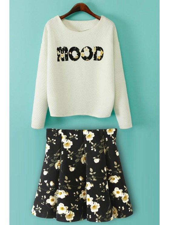 new Letter Print Long Sleeve T-Shirt + Floral Print Skirt - WHITE AND BLACK S