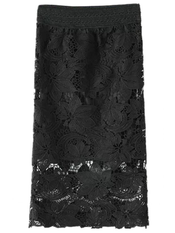 sale Lace Hollow Pencil Skirt - BLACK ONE SIZE(FIT SIZE XS TO M)