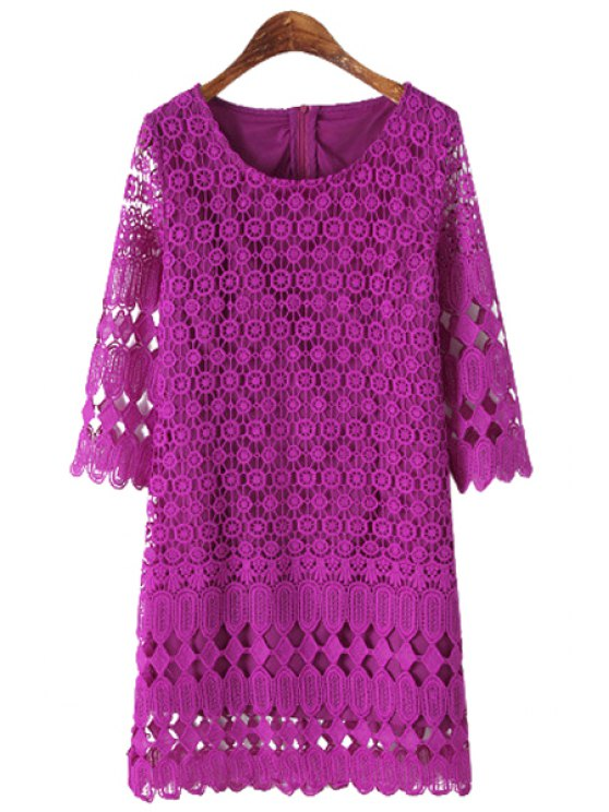 womens Hollow Out 3/4 Sleeve Lace Dress - PURPLE S