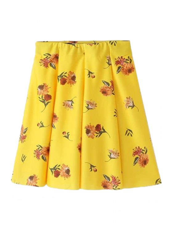 latest Floral Pleated Yellow Skirt - YELLOW S