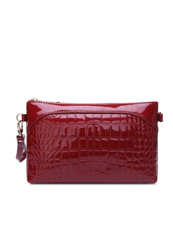 fashion Patent Leather Crocodile Print Clutch Bag - WINE RED