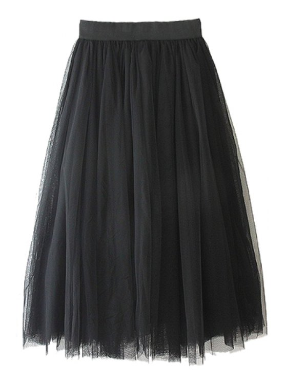 hot Voile Solid Color A-Line Skirt - BLACK ONE SIZE(FIT SIZE XS TO M)