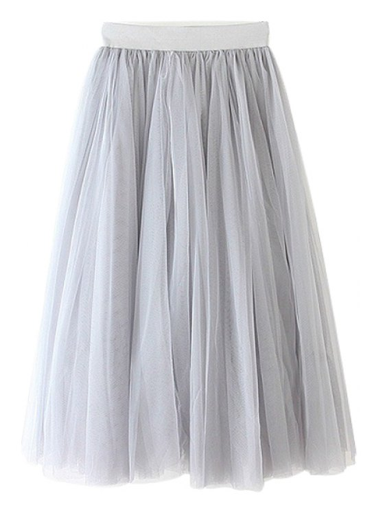 lady Voile Solid Color A-Line Skirt - GRAY ONE SIZE(FIT SIZE XS TO M)