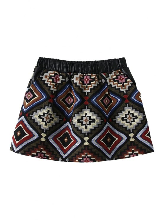 shop Geometric Pattern A-Line Skirt - RED M