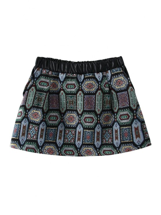 unique Geometric PU Leather Splicing Skirt - GREEN M