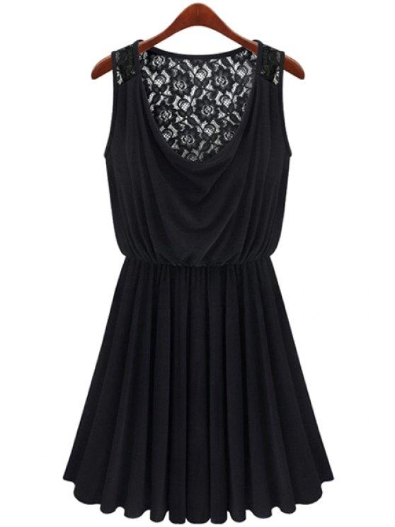 hot Lace Splicing Black Sundress - BLACK M