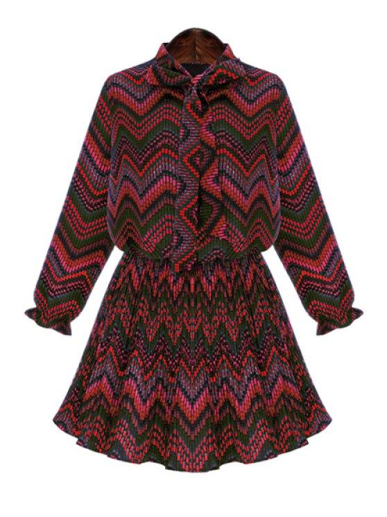 best Striped Print Long Sleeve Dress - RED 2XL