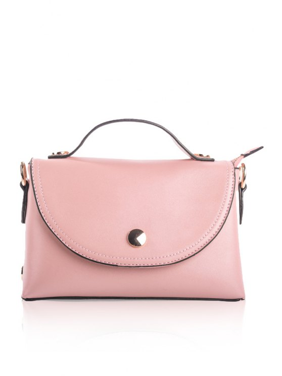 women Solid Color PU Leather Tote Bag - LIGHT PINK