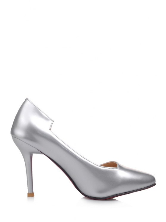 hot Stiletto Heel Pointed Toe Solid Color Pumps - SILVER 34