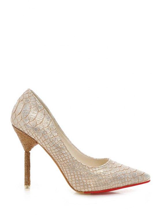 lady Snake Print Rhinestones Stiletto Heel Pumps - GOLDEN 34