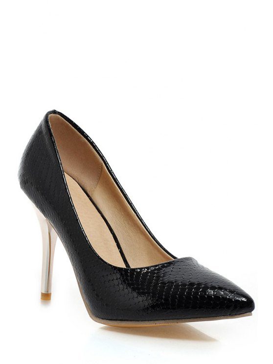 outfits Stone Pattern Stiletto Heel Pointed Toe Pumps - BLACK 37