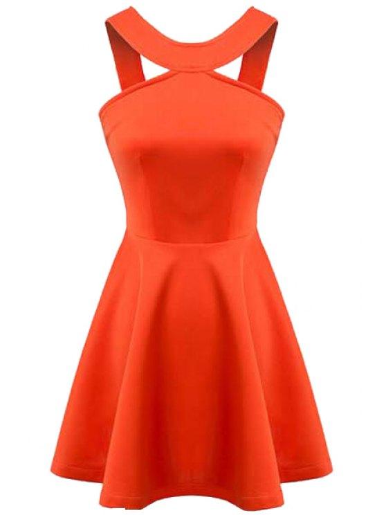 women Orange Sleeveless A-Line Dress - ORANGE S