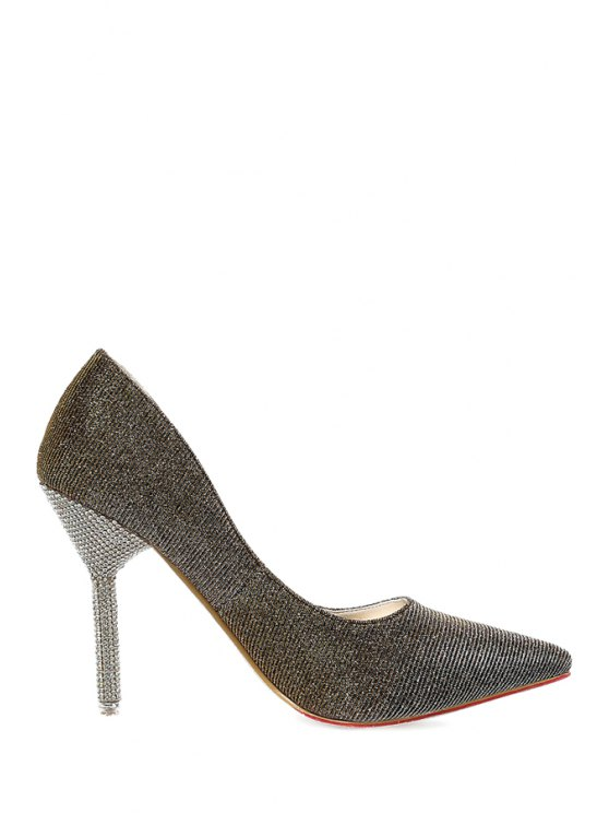 online Bling Bling Rhinestones Stiletto Heel Pumps - BRONZE-COLORED 34