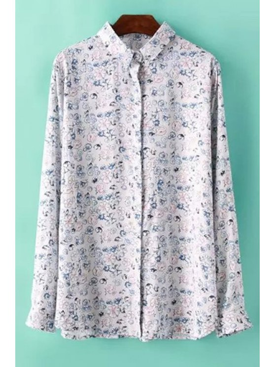 fancy Tiny Floral Long Sleeve Shirt - COLORMIX S