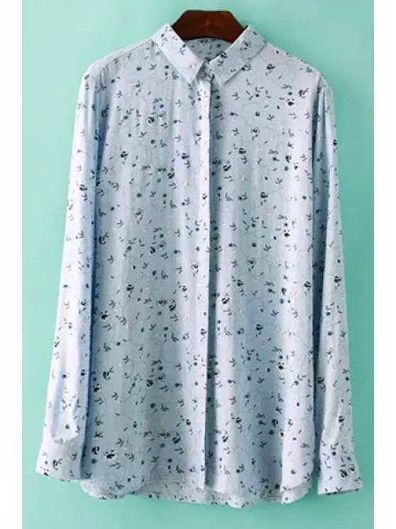 online Tiny Floral Blue Long Sleeve Shirt - COLORMIX S