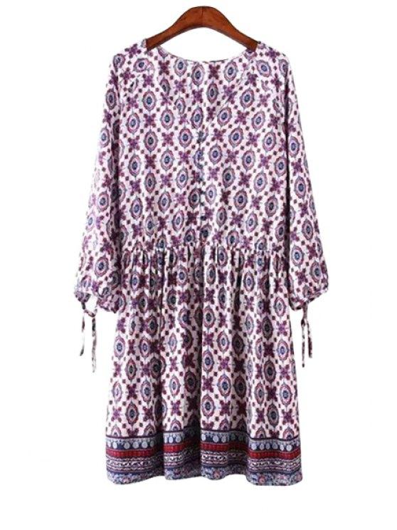 lady Ethnic Print Long Sleeves Dress - PURPLE S