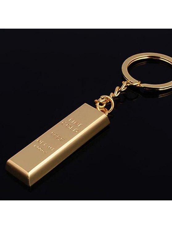 fancy Chic Letter Carved Rectangle Shape Key Ring - GOLDEN