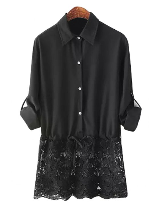 best Lace Splicing Hem Shirt - BLACK S