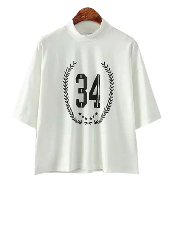 new Number Print Short Sleeve T-Shirt - WHITE ONE SIZE(FIT SIZE XS TO M)