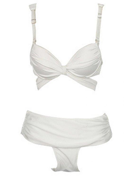 shops Solid Color Ruffle Bandage Bikini Set - WHITE S