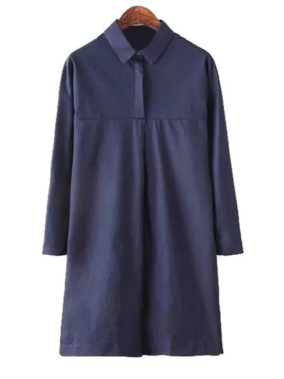 fashion Solid Color Shirt Neck Dress - PURPLISH BLUE M