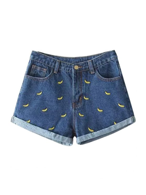 affordable Banana Embroidery Denim Shorts - BLUE S