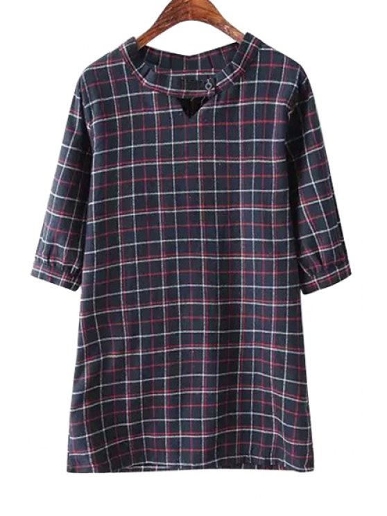 ladies Plaid Pattern Half Sleeve Dress - CADETBLUE ONE SIZE(FIT SIZE XS TO M)