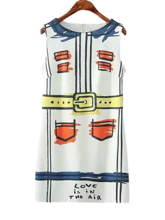shops Pocket Print Scoop Neck Sundress - WHITE S