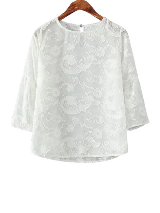 outfits 3/4 Sleeves Solid Color Blouse - WHITE ONE SIZE(FIT SIZE XS TO M)