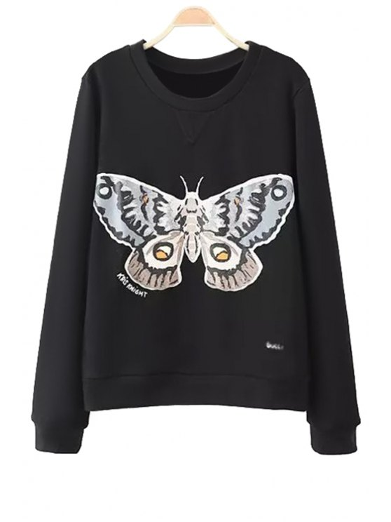 affordable Butterfly Print Sweatshirt - BLACK S