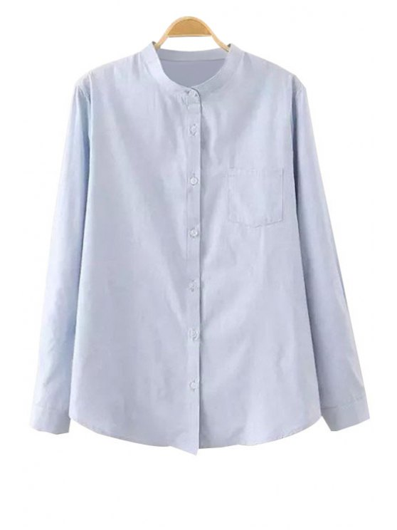 chic Solid Color Stand Neck Shirt - BLUE ONE SIZE(FIT SIZE XS TO M)