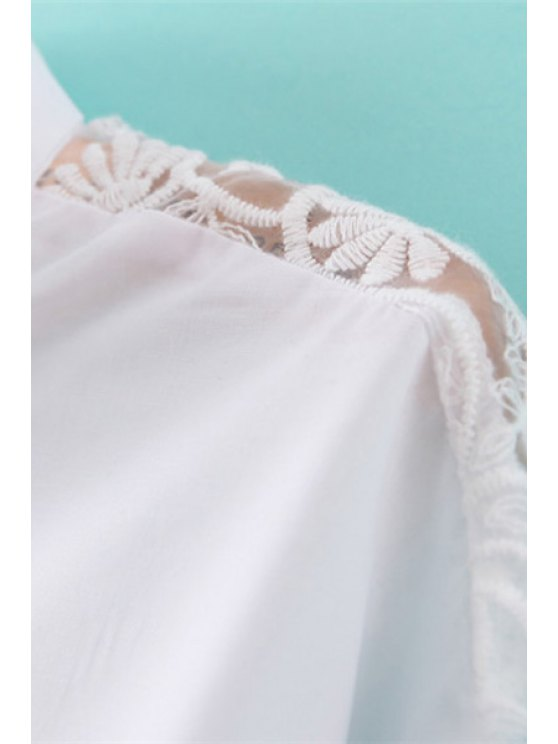 Solid Color Lace Splicing Shirt - WHITE M Mobile