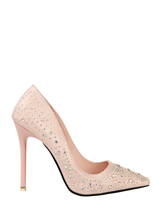 outfit Rhinestones Bling Bling Stiletto Heel Pumps - PINK 34